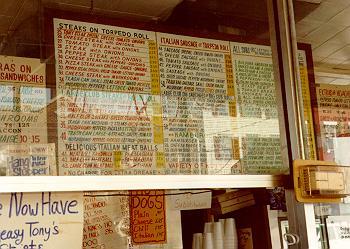 Tony's original menu