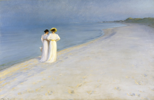 p-s-_krc3b8yer_-_summer_evening_on_skagens_beach-_anna_ancher_and_marie_krc3b8yer_walking_together-_-_google_art_project