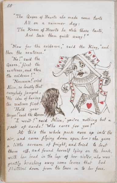 Manuscript of Alice's Adventures Under Ground (f. 45v / p. 88)Description A handwritten page of the original manuscript of Alice's Adventures Under Ground, illustrated by the author. Held and digitized by the British Library.
