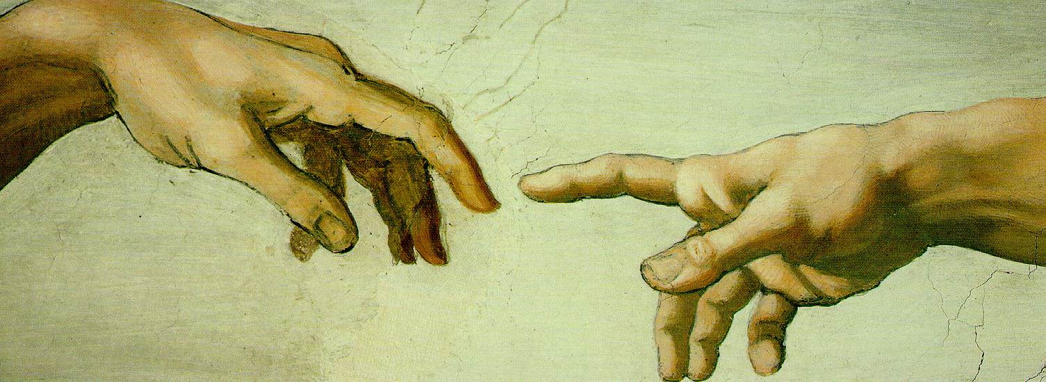 Adam stretches out his finger to God on the ceiling of the Sistine Chapel.