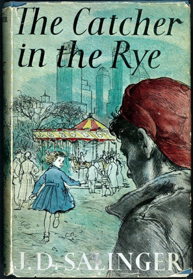 A 1951 copy of J.D. Salinger's The Catcher in the Rye (Rare Book and Special Collections Division, Library of Congress) showing Holden and his sister at the carousel.