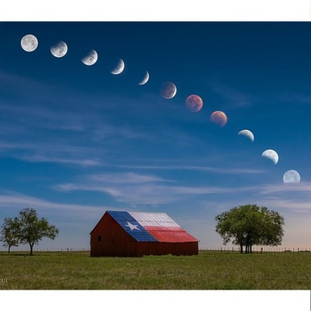 Moon rising over a barn in rural central Texas by Mike Mezeul II