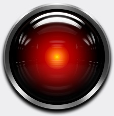 The camera eye of HAL 9000, an artificial intelligence from 2001: A Space Odyssey