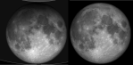 A total penumbral lunar eclipse dims the moon in direct proportion to the area of the Sun's disk blocked by the Earth. This comparison shows the southern shadow penumbral lunar eclipse of January 1999 (left) to the moon outside of the shadow (right) demonstrates this subtle dimming.