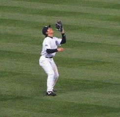 NYY Matsui catching fly ball