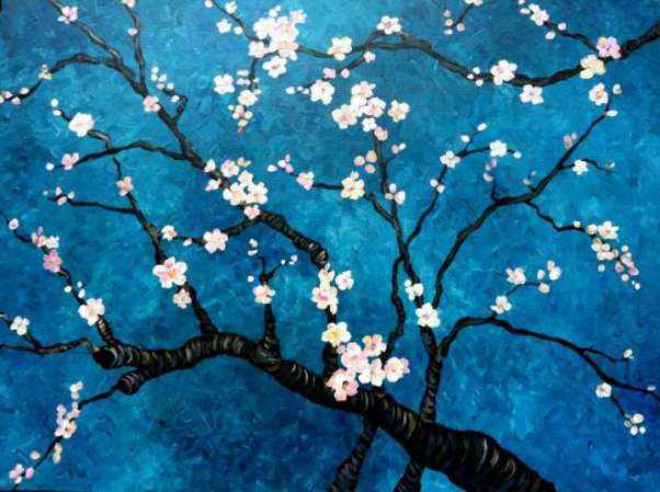 almond blossoms night