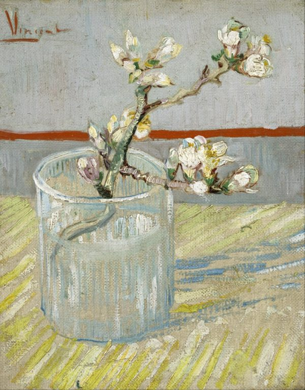 Blossoming Almond Branch in a Glass with Book Arles March 5 1888