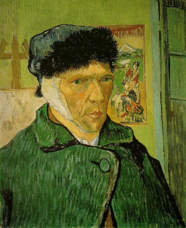 Vincent van Gogh: Self-portrait with Bandaged Ear, Easel and Japanese Print
