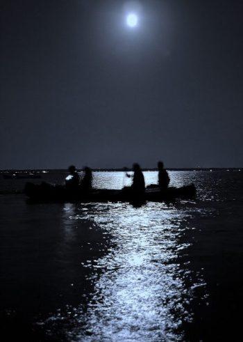 canoe in moonlight